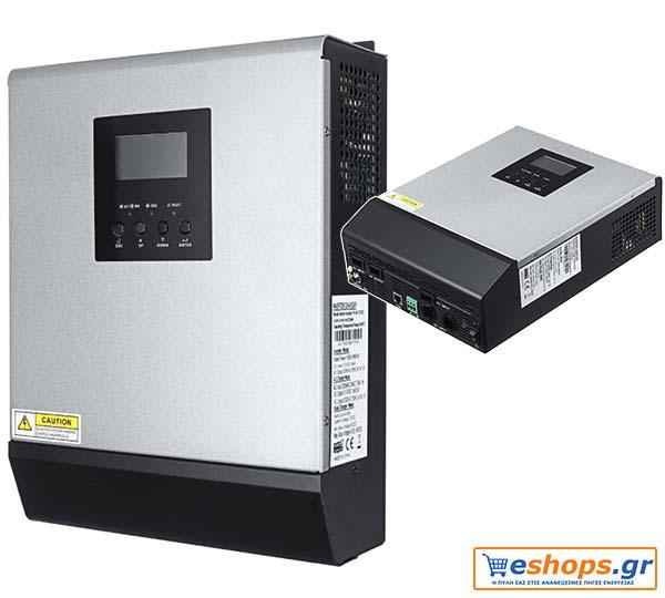 Το Ινβερτερ 3000w-Inverter-Charger 3000VA 24v με Ρυθμιστής Φόρτισης 50Α αποτελεί ένα ανταγωνιστού κόστους 3KVA 2400w 24Vdc Off Grid Solar Power Inverter με 50A Solar Charger ( ρυθμιστή φόρτισης) και 30A AC Charger- φορτιστή μπαταριών